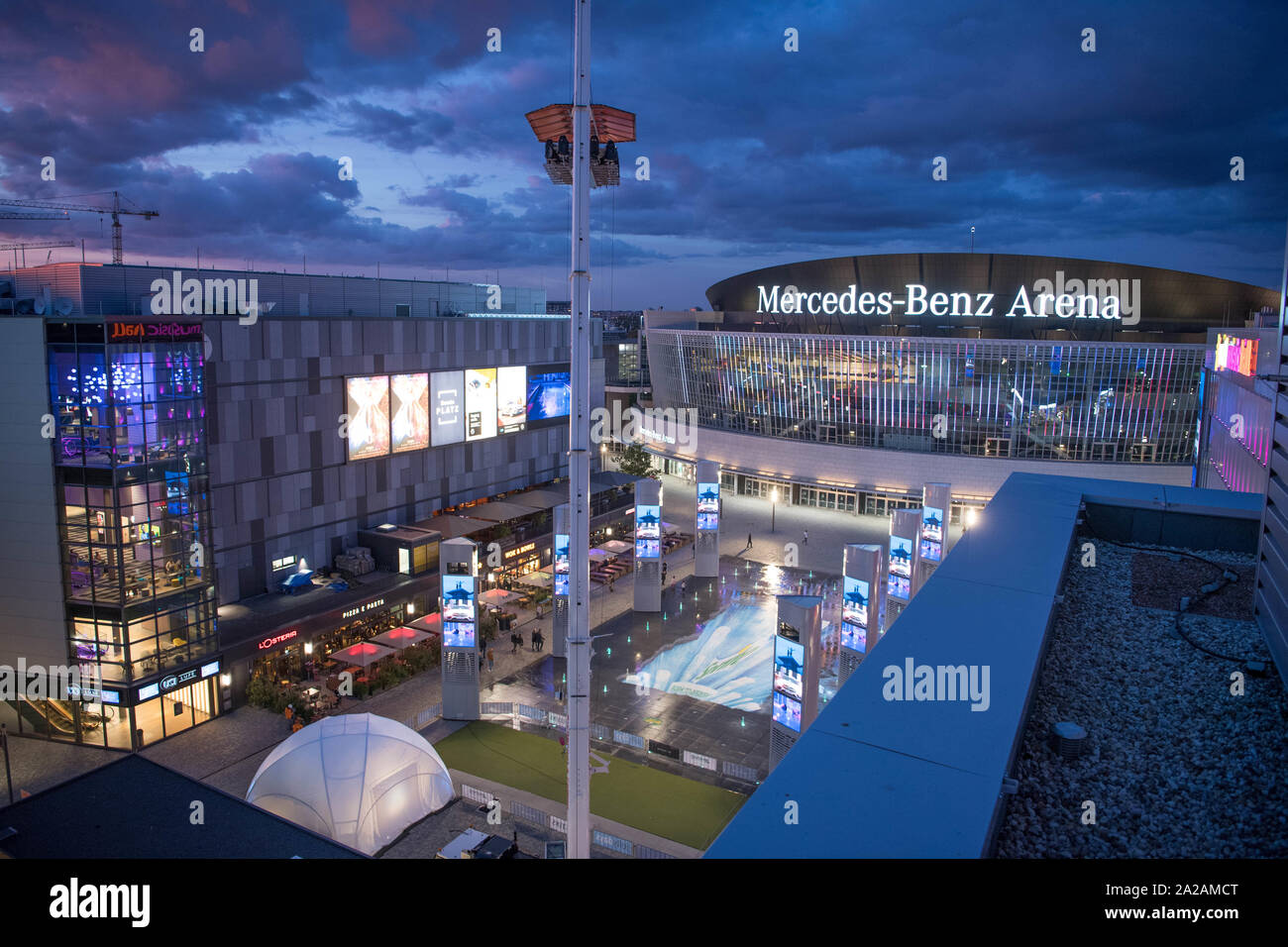 Berlin, Germany. 19th Sep, 2019. View of the Mercedes Square and the Mercedes-Benz Arena from above. Credit: Jörg Carstensen/dpa/Alamy Live News Stock Photo