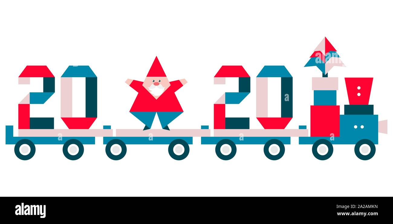 Christmas Train 2020 Happy new year 2020, Merry Christmas. Vector illustration with