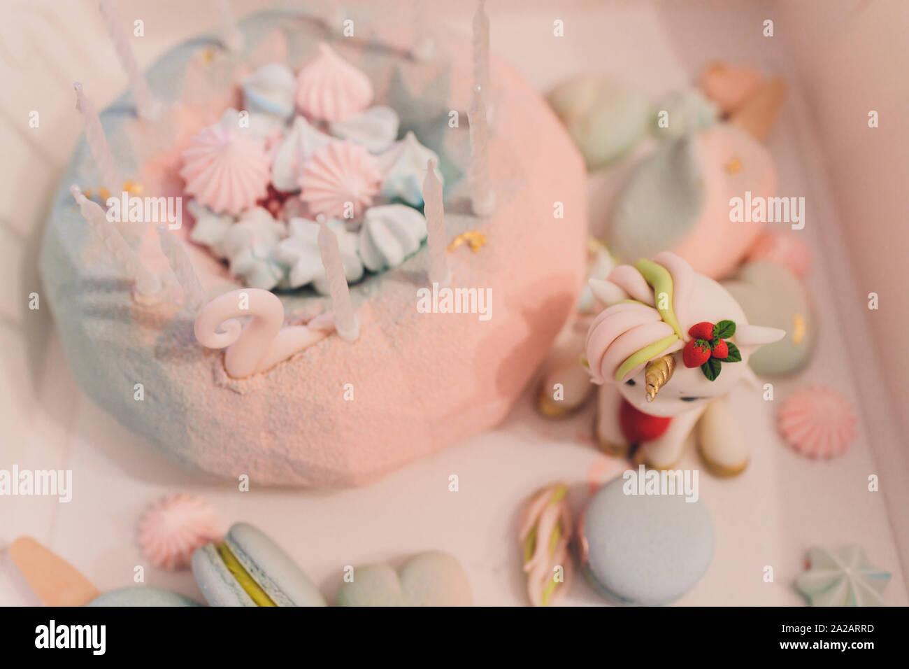 Amazing Unicorn Rainbow Cake Stock Photos Unicorn Rainbow Cake Stock Funny Birthday Cards Online Alyptdamsfinfo