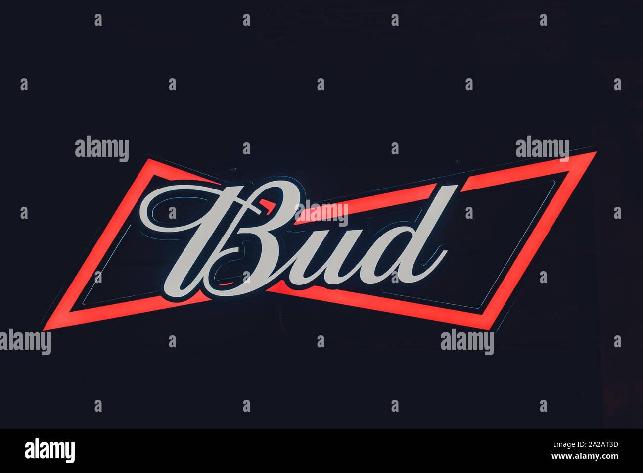 Ufa Russia 24 September 2019 Budweiser Beer Bud Brand