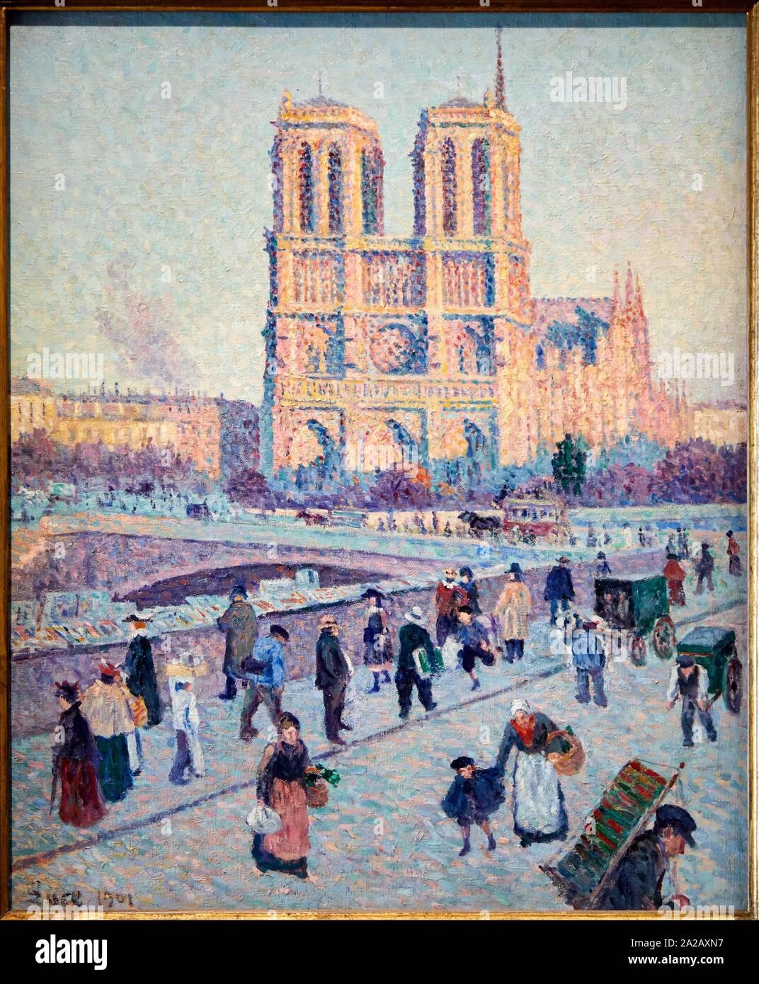"""""""Le Quai Saint-Michel et Notre-Dame"""", 1901, Maximilien Luce, Musée d'Orsay, Paris, France, Europe Stock Photo"""