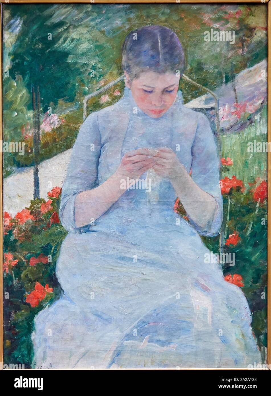 """""""Jeune fille au jardin"""", 1880-1882, Mary Cassatt (1844-1926), Musée d'Orsay, Paris, France, Europe Stock Photo"