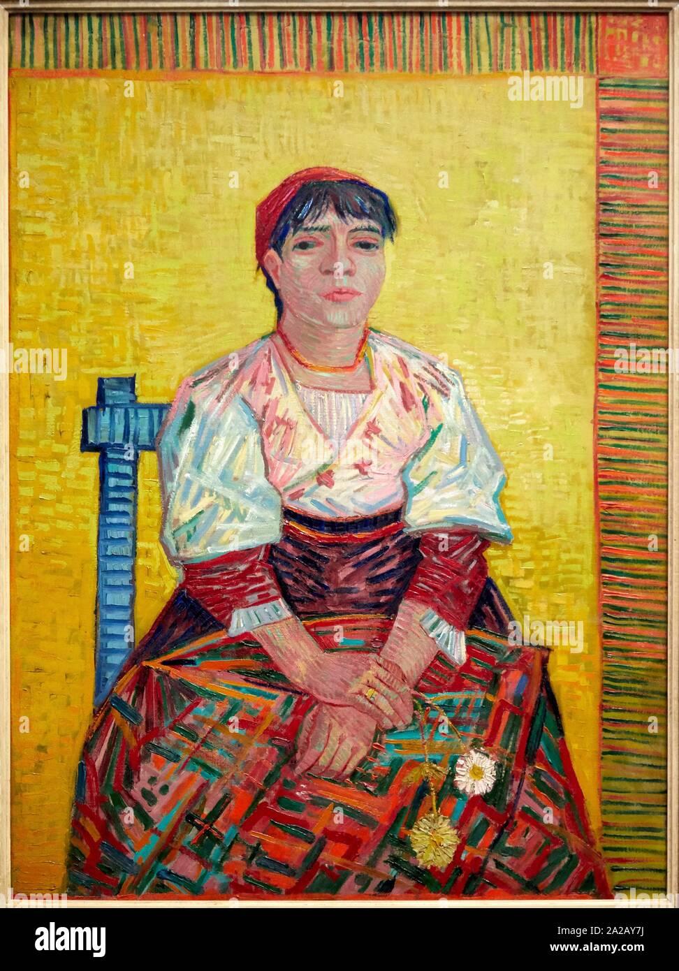 """""""""""""""L'Italienne"""""""", 1887, Vincent Van Gogh, Musée d'Orsay, Paris, France, Europe Stock Photo"""
