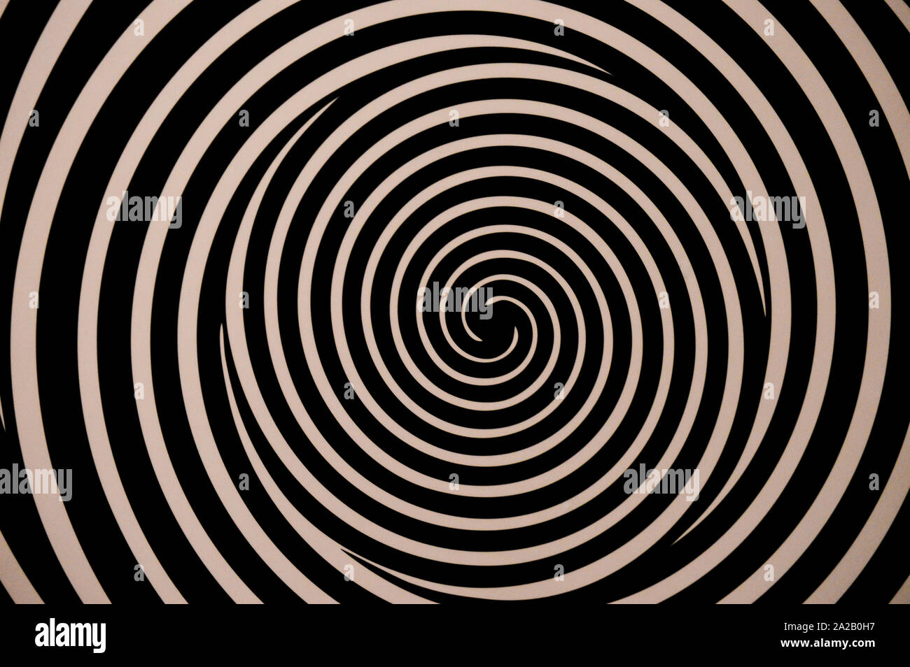 Optical illusion, black and white spinning spirals Stock Photo