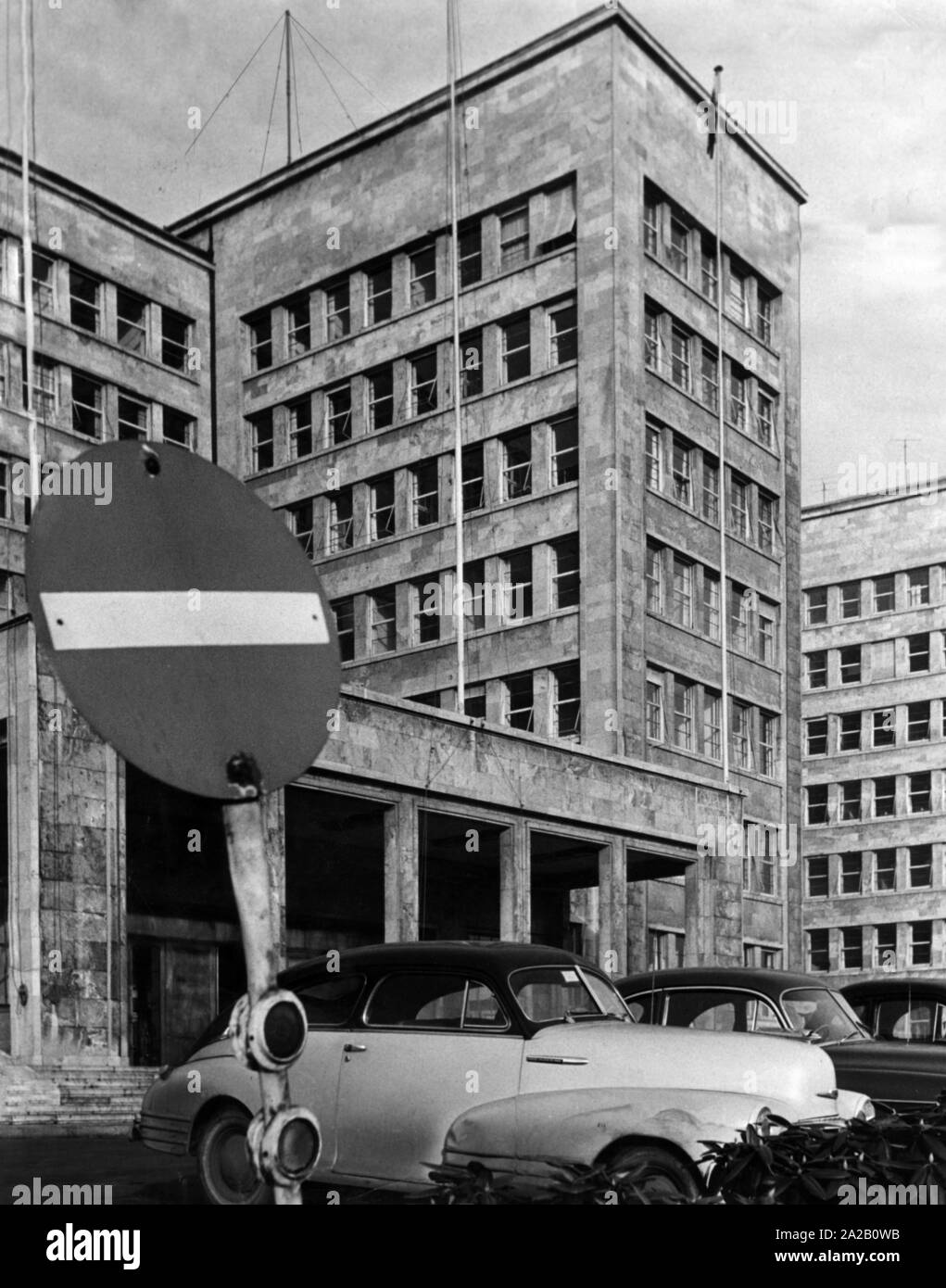 The south facade and the main entrance of the IG Farben Building in Frankfurt am Main. After the war it was the seat of the Allied Headquarters. Stock Photo
