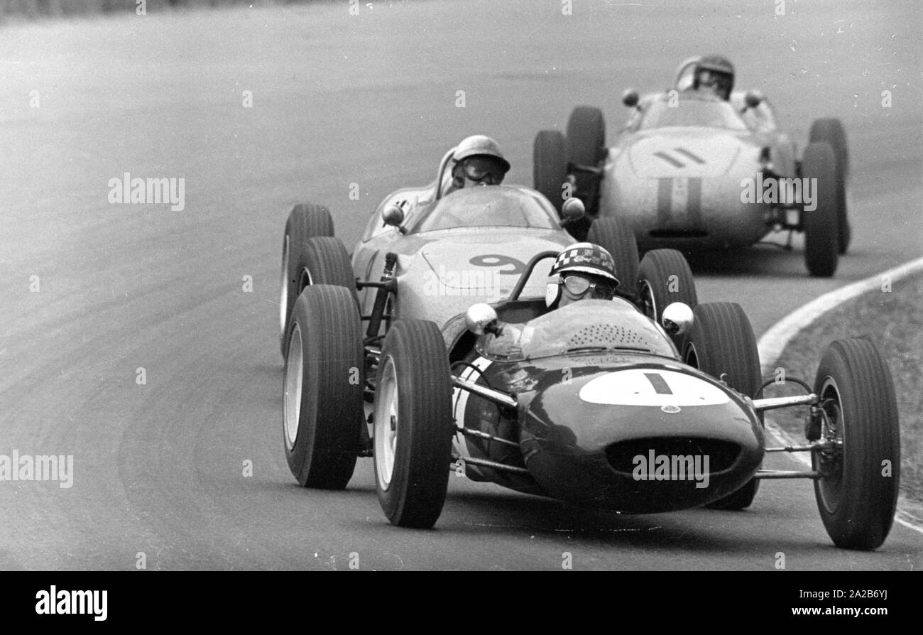 10th Grand Prix Of The Solitude 1961 Innes Ireland In The Lotus 21 Car Number 1 Is Followed By Jo Bonnier Car Number 9 And Dan Gurney Car Number 11 Both In