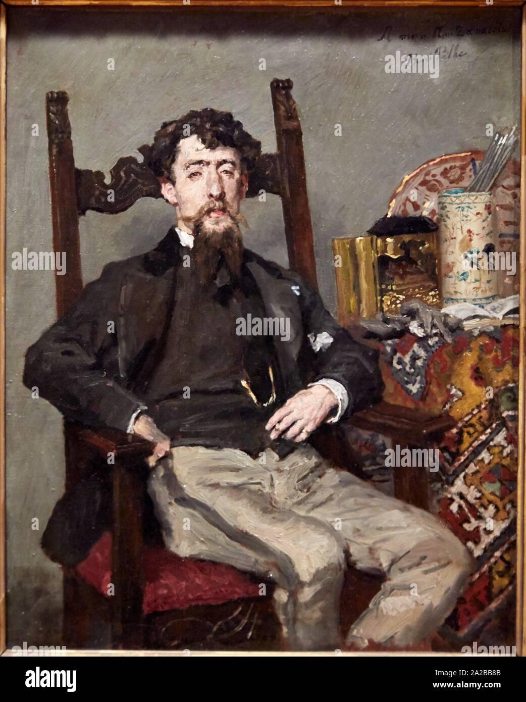"""""""""""""""Portrait d'Edouardo Zamacois Y Zabala"""""""", 1870, Henri Pille, Petit Palais Musée des Beaux Arts de la Ville de Paris, France, Europe Stock Photo"""