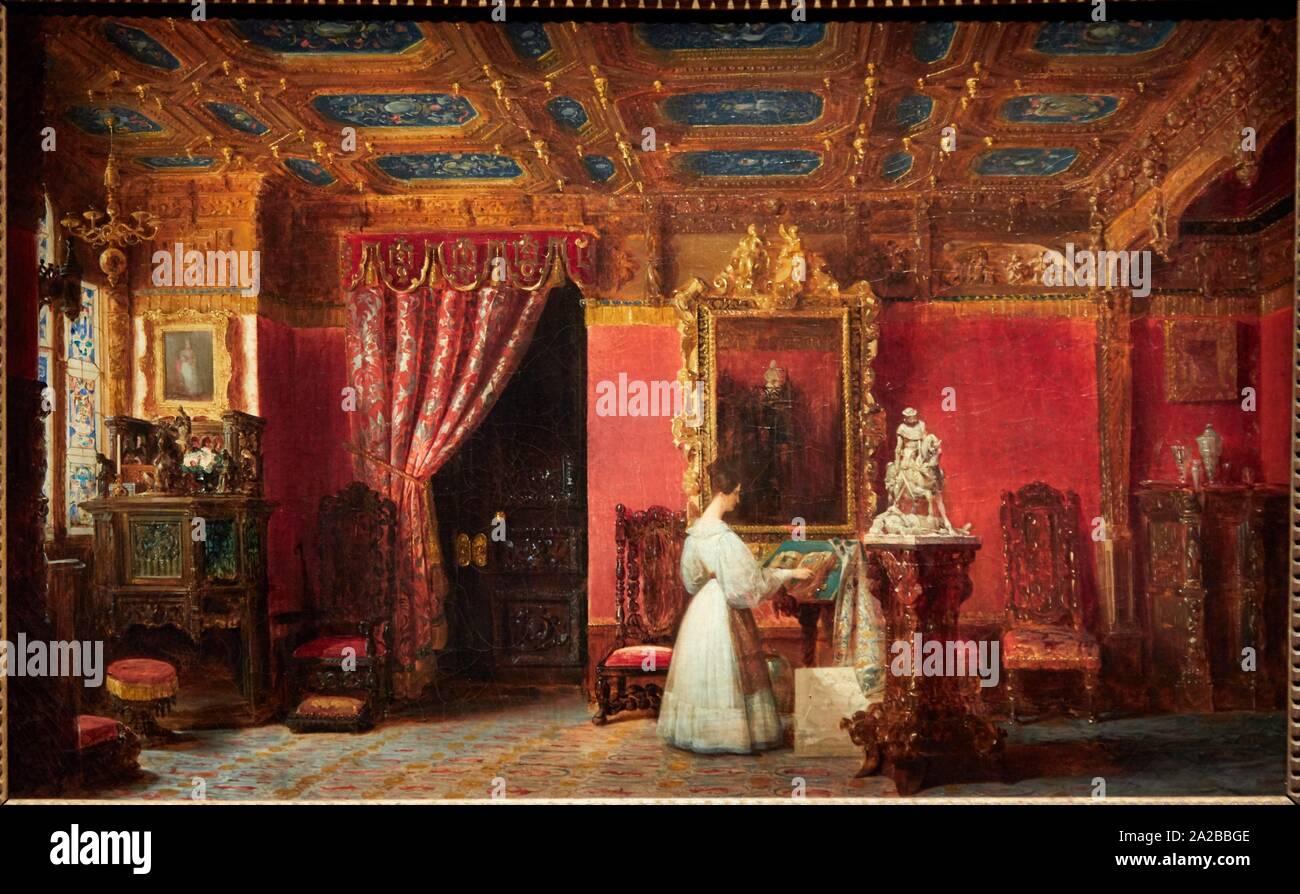 """""""""""""""Salon de la princesse Marie aux Tuileries"""""""", 1838, Prosper Lafaye, Petit Palais Musée des Beaux Arts de la Ville de Paris, France, Europe Stock Photo"""