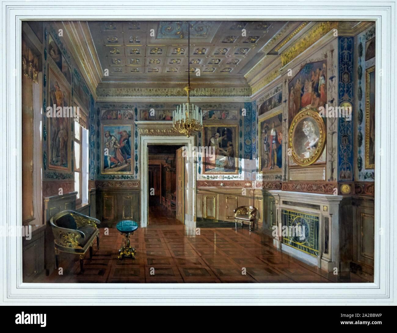 """""""""""""""La Galerie Schiller á la Residence, palais ducal de Weimar"""""""", 1846, Carl Maria Nicolaus Hummel, L´Allemagne romantique exhibition, Dessins des Stock Photo"""