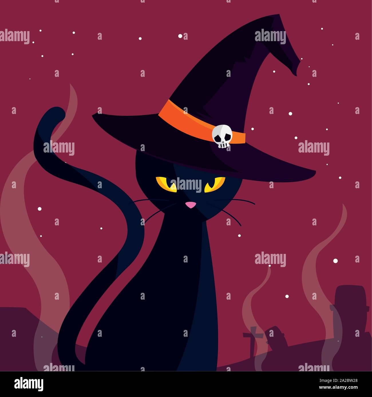 Cat Cartoon Design Halloween Holiday Horror Scary Celebration