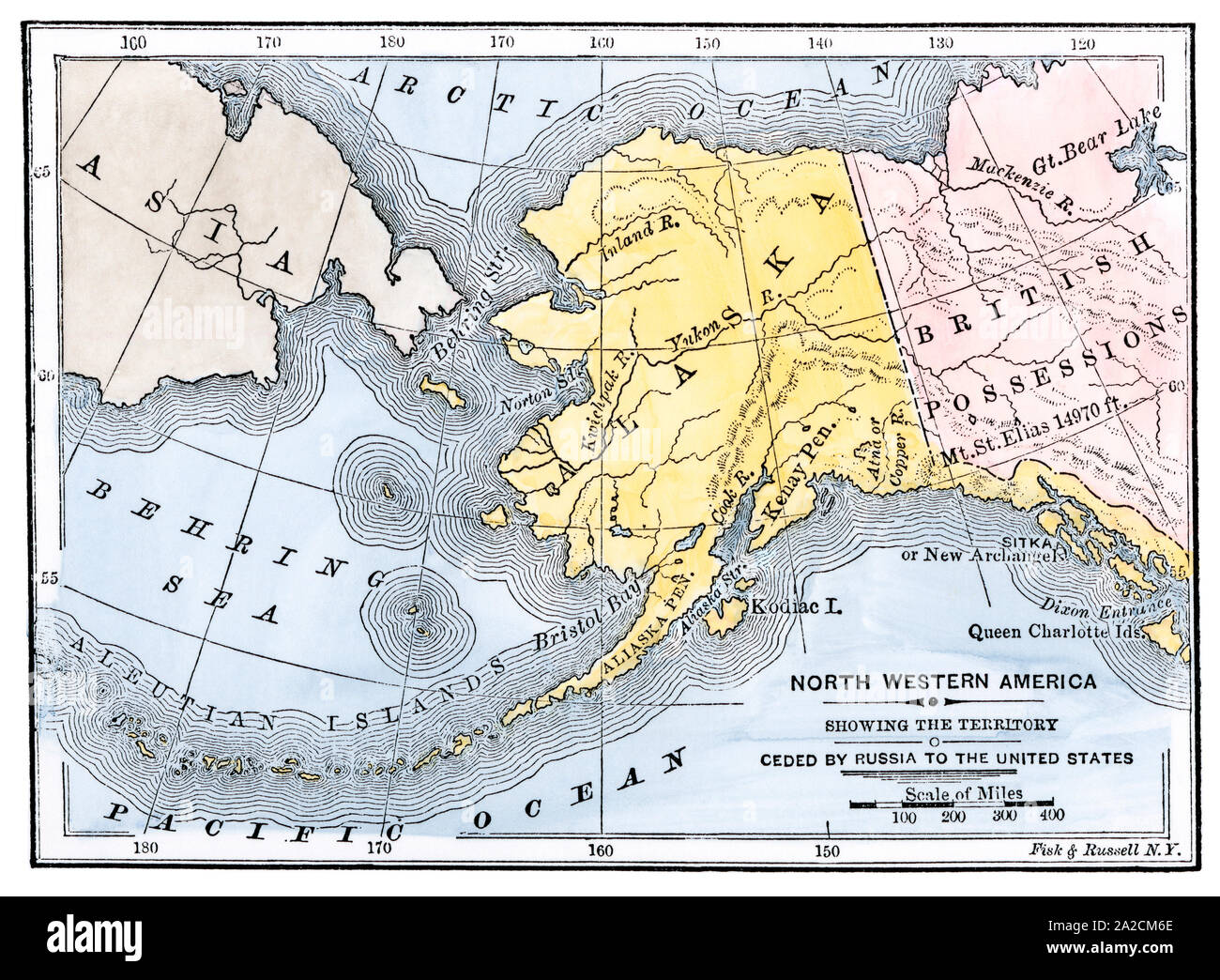 Map of Alaska Territory ceded by Russia, 1800s. Hand-colored ...