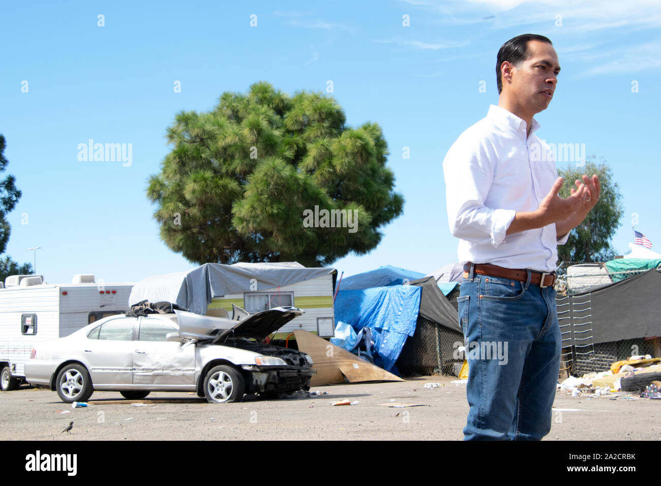 Democratic Presidential Candidate Julián Castro speaks at an Oakland homeless encampment on Sept. 25. Stock Photo