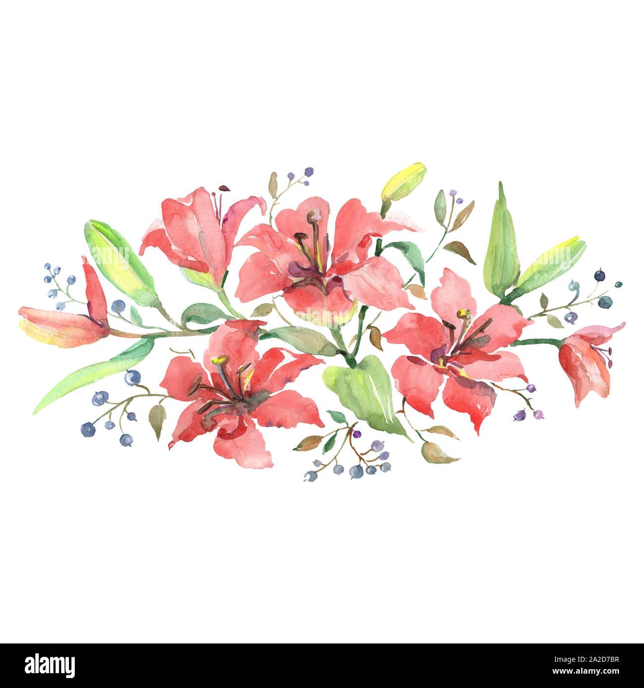 Orange lilies bouquet floral botanical flowers. Watercolor background set. Isolated bouquets illustration element. Stock Photo