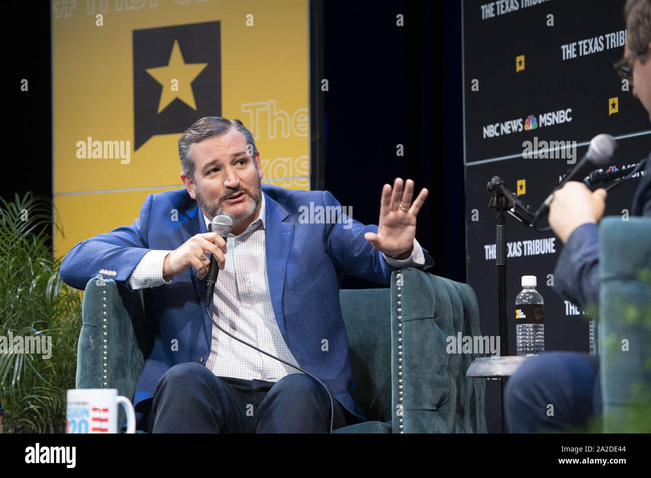 Austin, Texas, USA. 28th Sep, 2019. U.S. Senator Ted Cruz (R-Texas) holds a wide ranging political discussion with progressive journalist Chris Hayes of MSNBC during a Texas Tribune Festival session in Austin. Cruz mostly defended Donald Trump but did not rule out another presidential run of his own in 2024. Credit: Bob Daemmrich/ZUMA Wire/Alamy Live News Stock Photo
