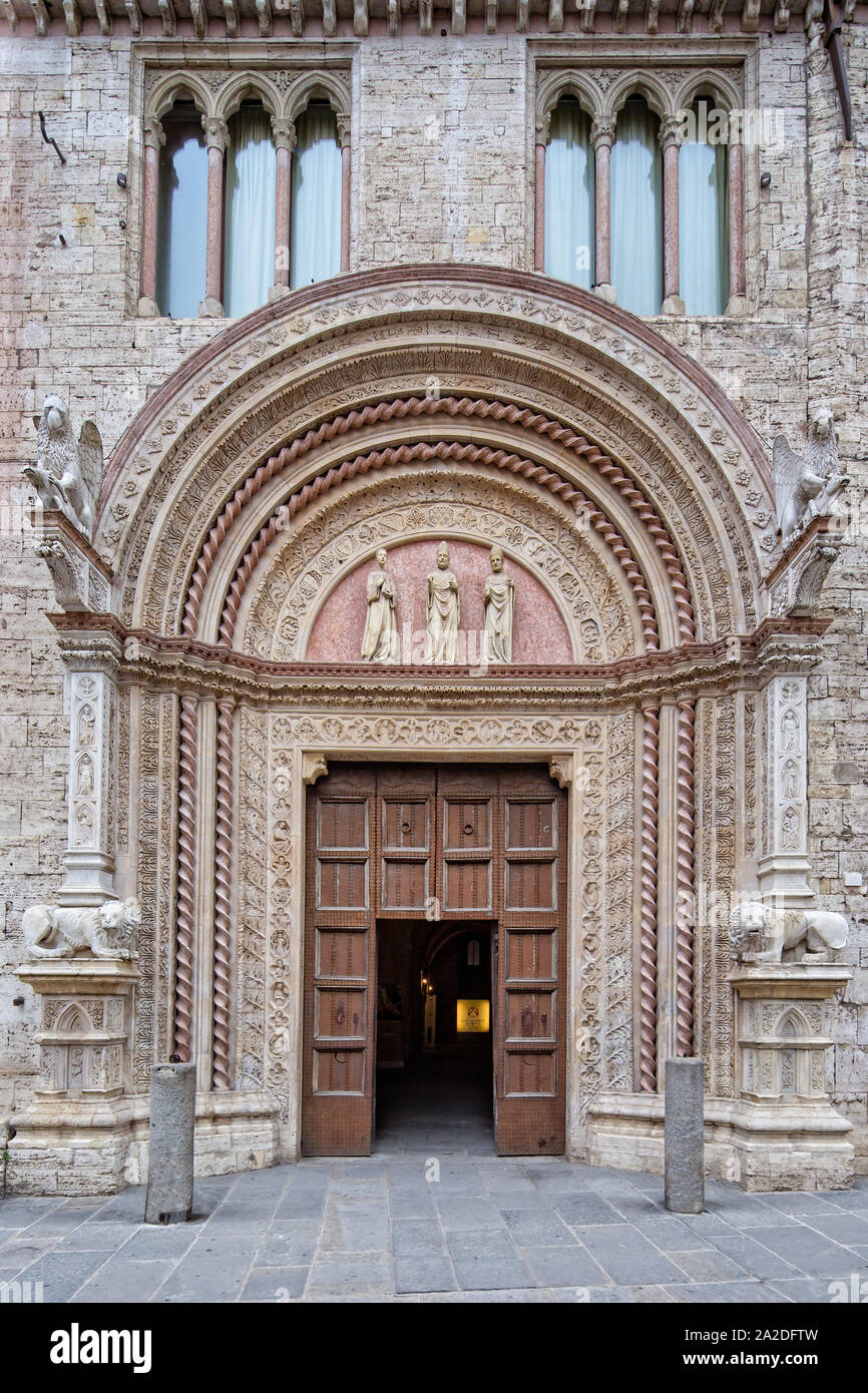 Beautiful architecture in Perugia.The Palazzo dei Priori is one of the most characteristic buildings in the historical center of Perugia,Umbria, Italy Stock Photo