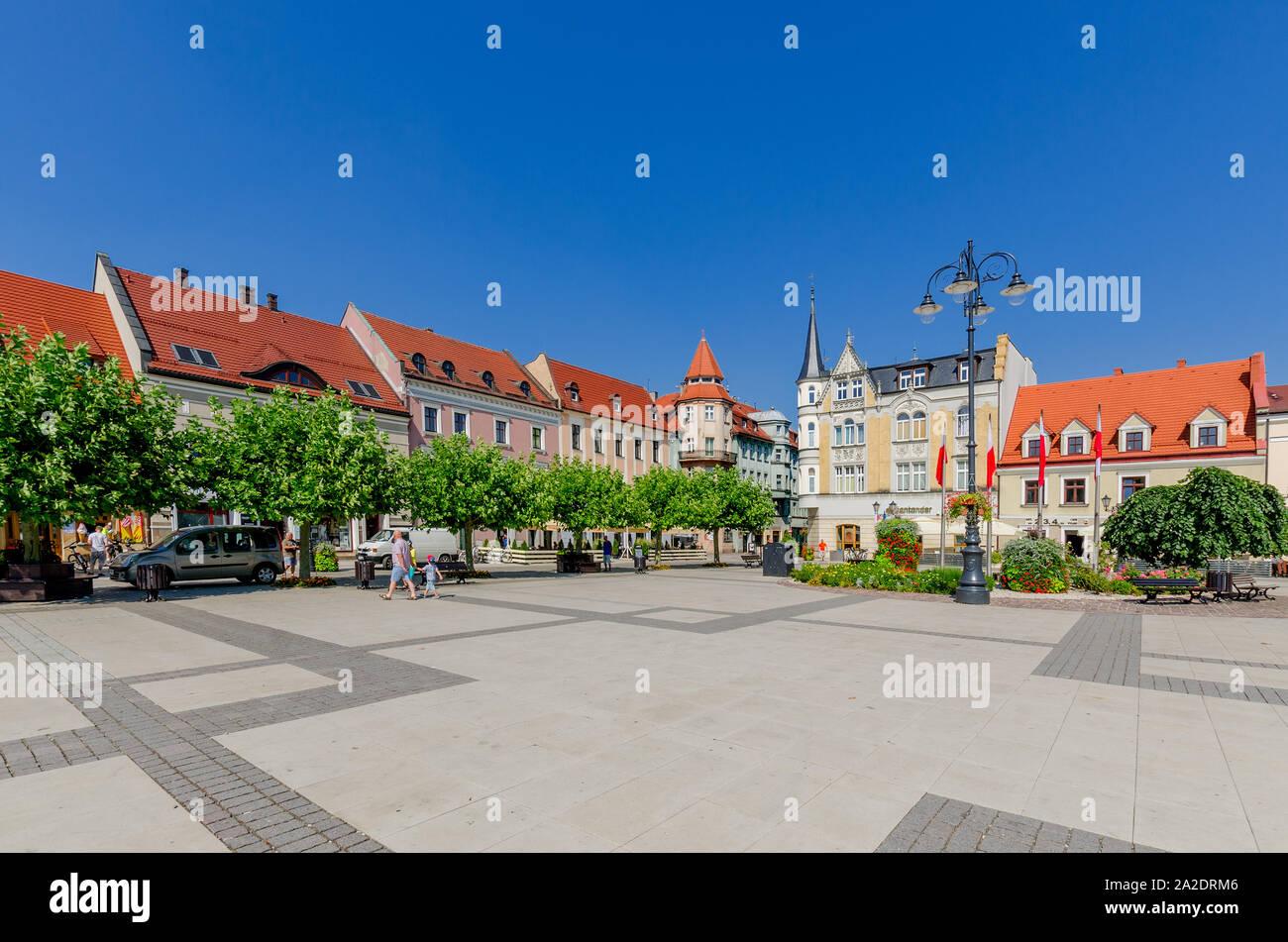Pszczyna (ger.: Pless), Silesian province, Poland. The Marketplace Stock Photo