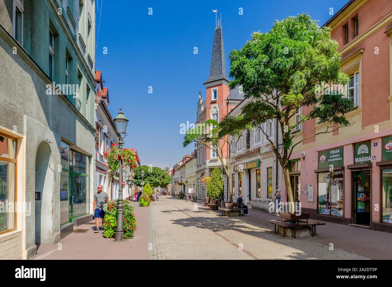 Pszczyna (ger.: Pless), Silesian province, Poland. Piastowska street, old town district. Stock Photo