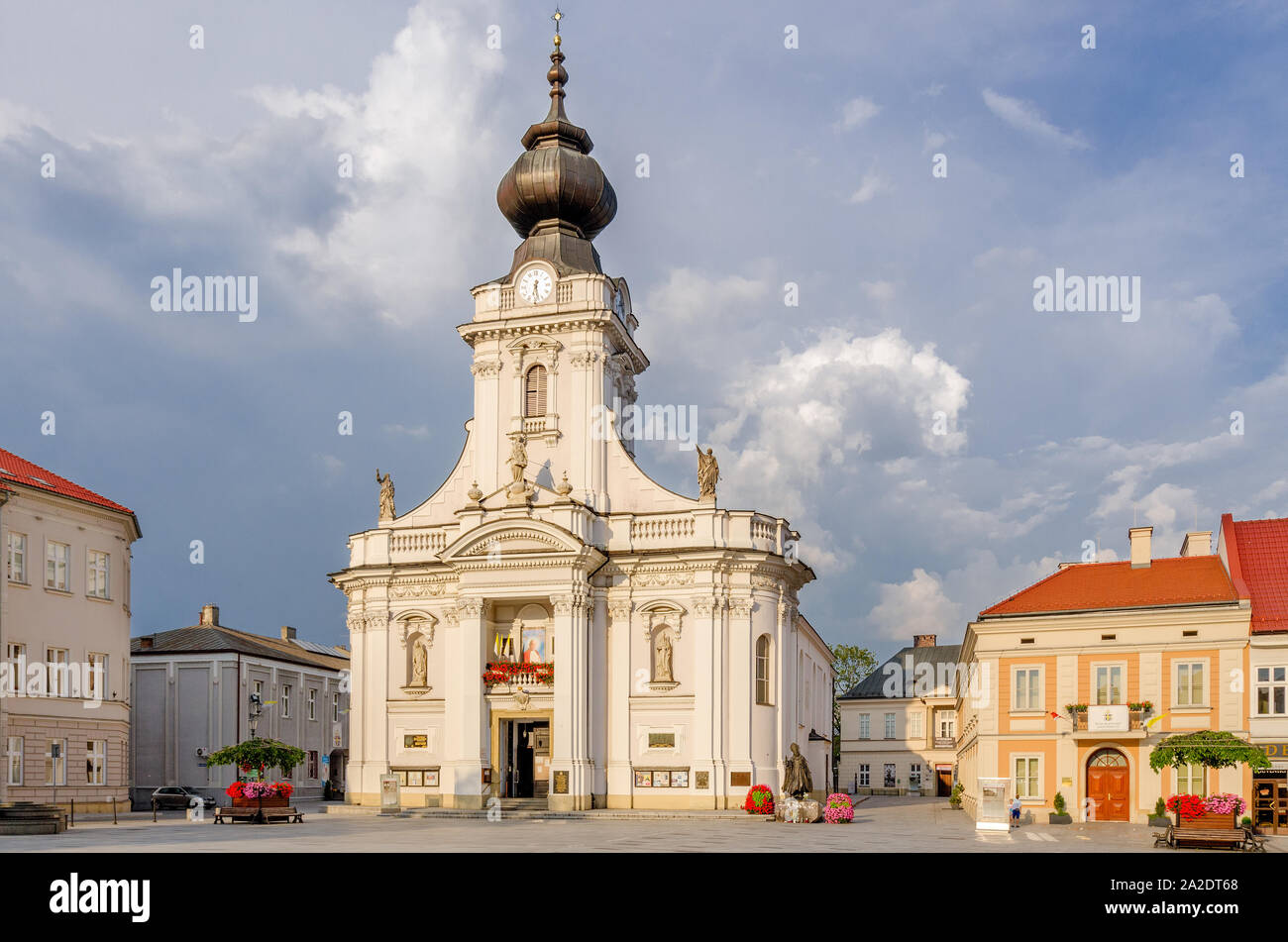 Wadowice, Lesser Poland province. Birthplace of Karol Wojtyla, pope John Paul II, Minor Basilica of the Presentation of the B Stock Photo