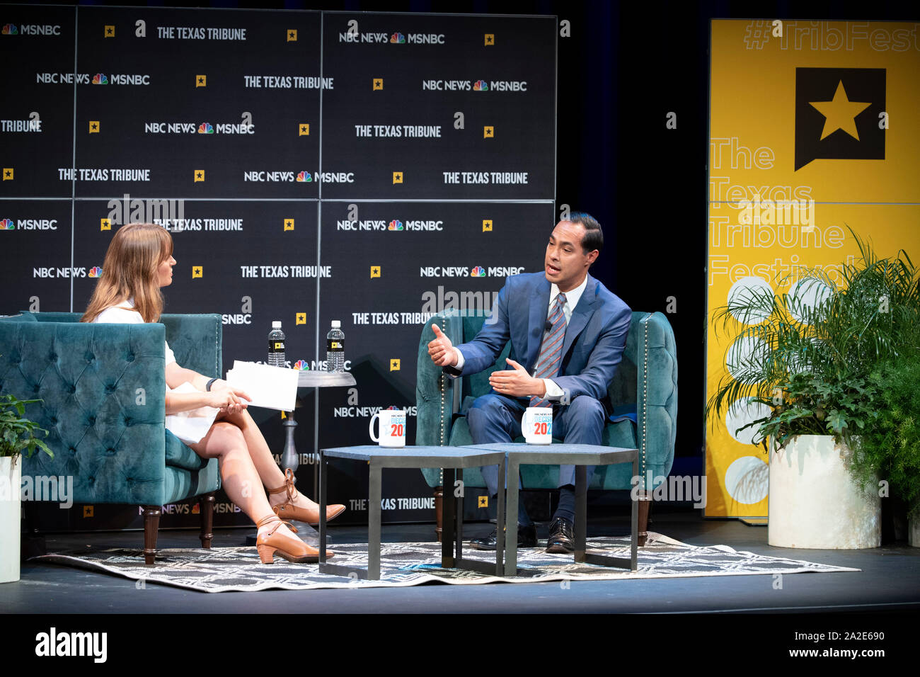 Austin, TX USA Sept. 28, 2019: Presidential candidate Julian Castro of San Antonio is interviewed by journalist Katie Tur of MSNBC at the Texas Tribune Festival in Austin. Castro, the only Hispanic Democratic hopeful, served in President Obama's cabinet as HUD Secretary. Stock Photo