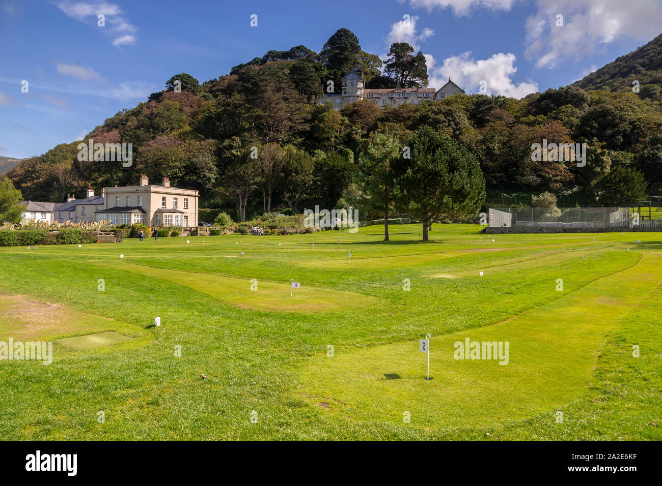 Putting green at Lynmouth on the North Devon coast Stock Photo