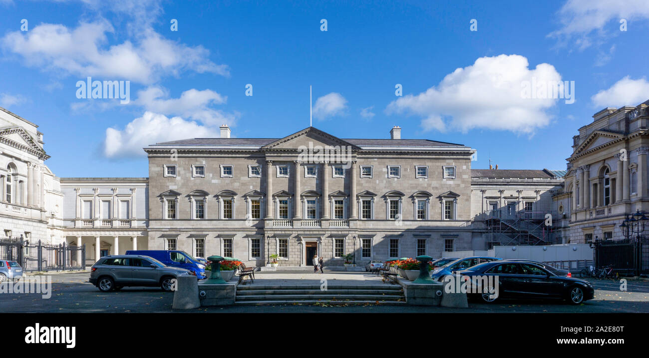 Leinster House, Kildare Street, the  seat of the Oireachtas, the parliament of Ireland., Stock Photo