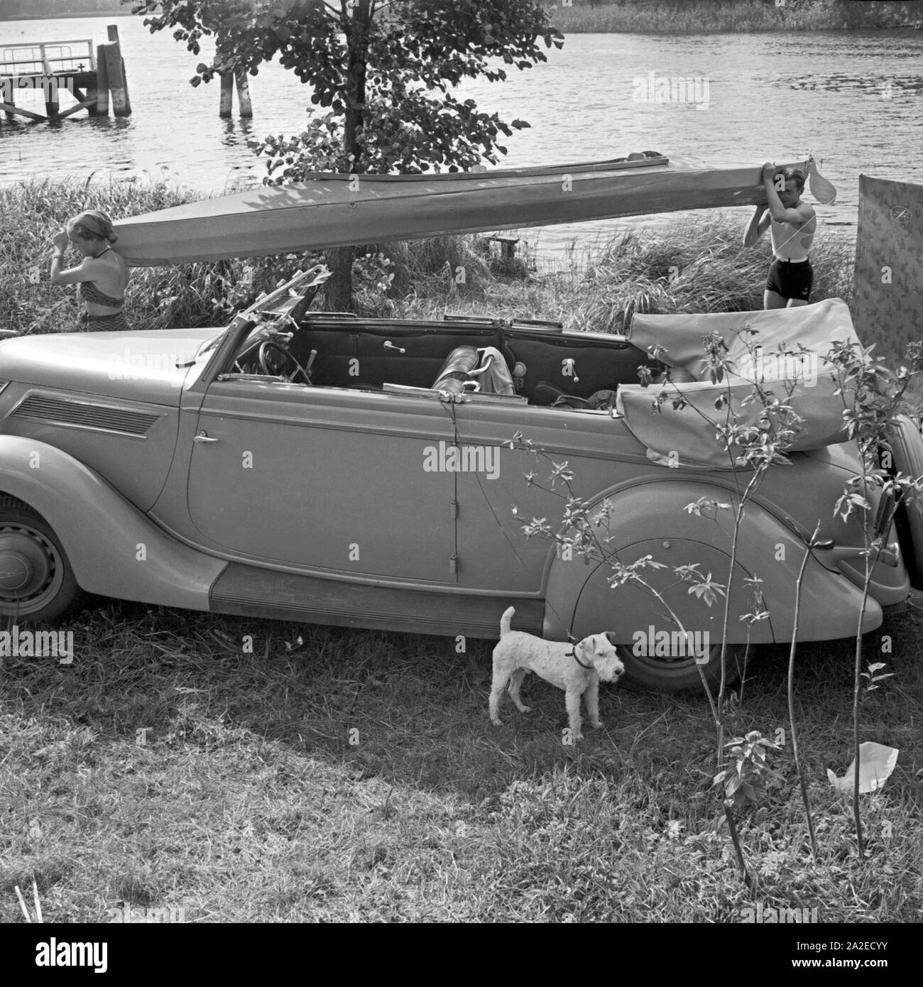 Ein Mann und eine Frau tragen ein Klepper Faltboot an einem Ford V8 Cabrio vorbei an Land, Deutschland 1930er Jahre. A man and a woman carrying a Klepper folding boat alongside a Ford V8 convertible on the shore, Germany 1930s. Stock Photo