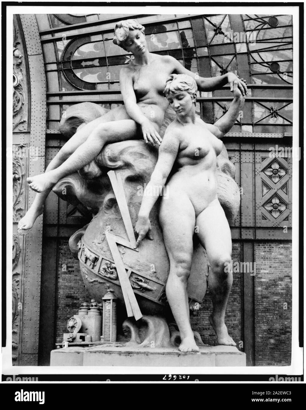 Electricity sculpture by Louis-Ernest Barrias located at the entrance to the Gallery of Machines, Paris Exposition, 1889 Stock Photo