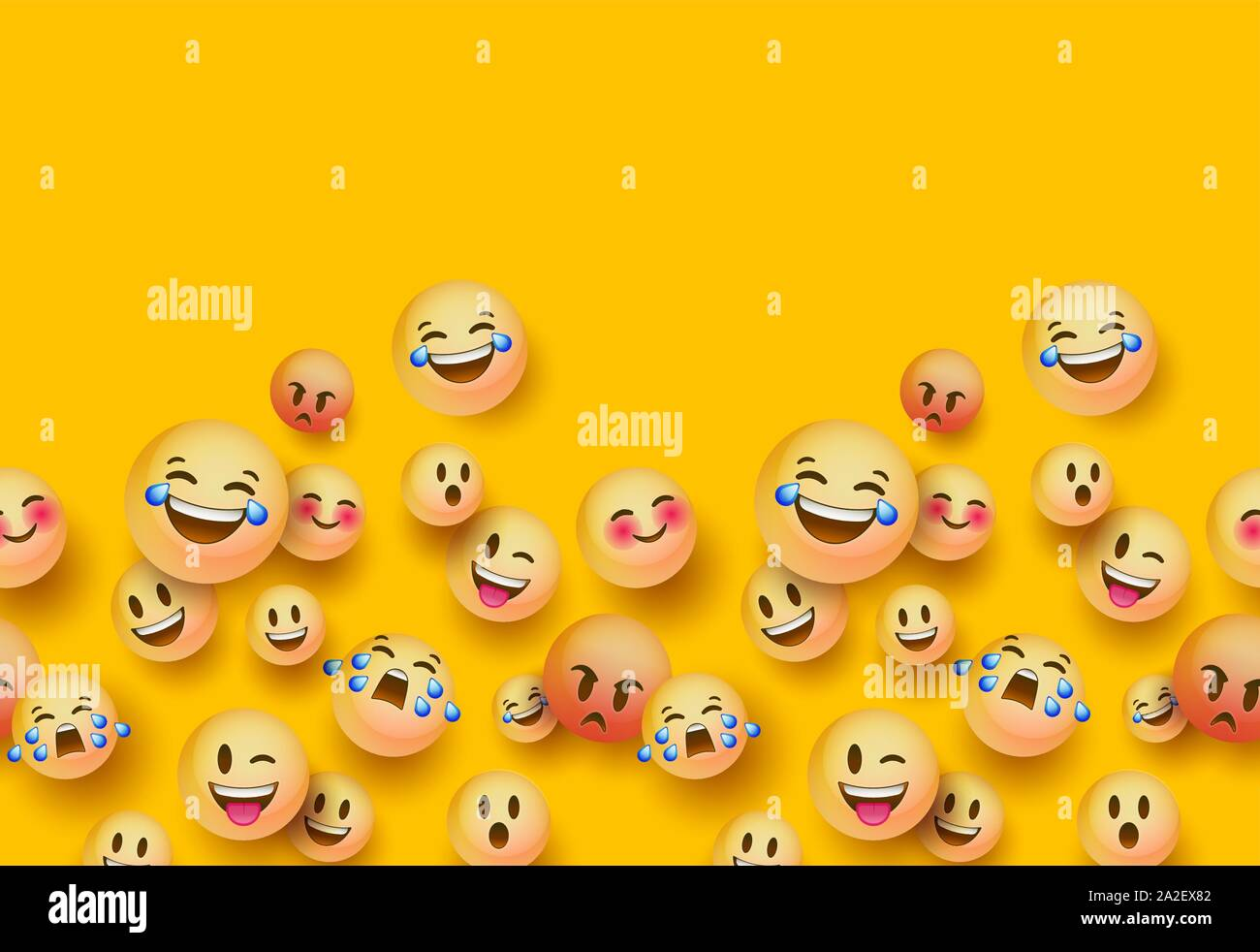 Fun 3d Yellow Emoticon Face Seamless Pattern Background With