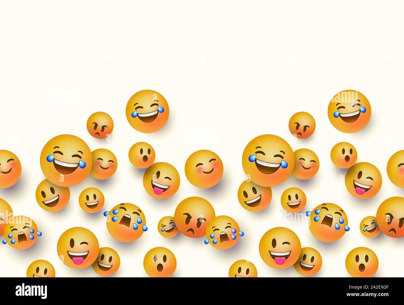 Fun 3d Yellow Emoticon Face Seamless Pattern On White