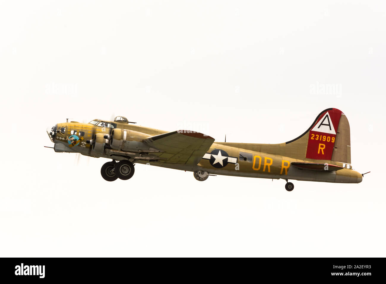 Collings Foundation's B-17G Flying Fortress, Nine-O-Nine, at Worcester Regional Airport for Wings of Freedom event. Stock Photo