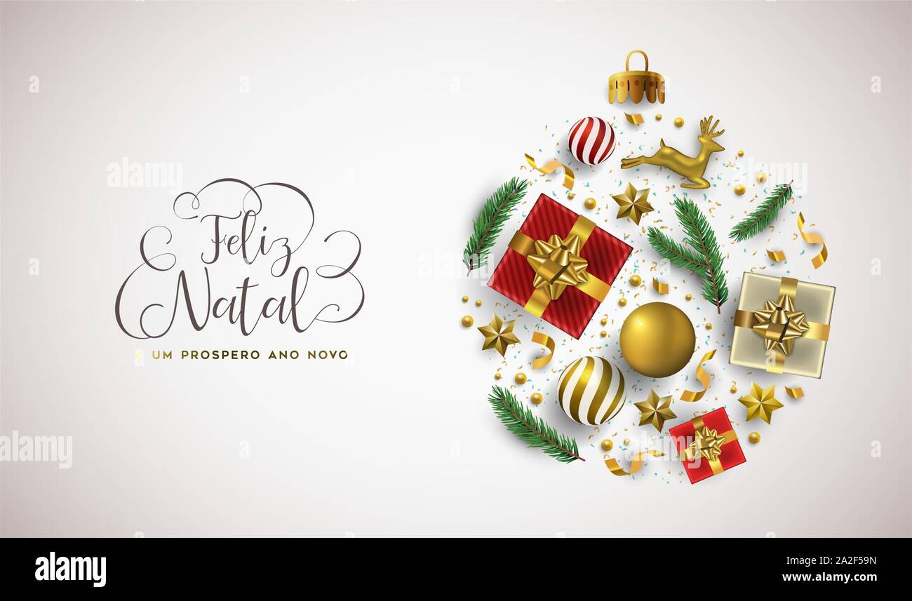 Merry Christmas Happy New Year portuguese language greeting card of 3d holiday decoration in bauble shape. Realistic luxury xmas ornament layout inclu Stock Vector