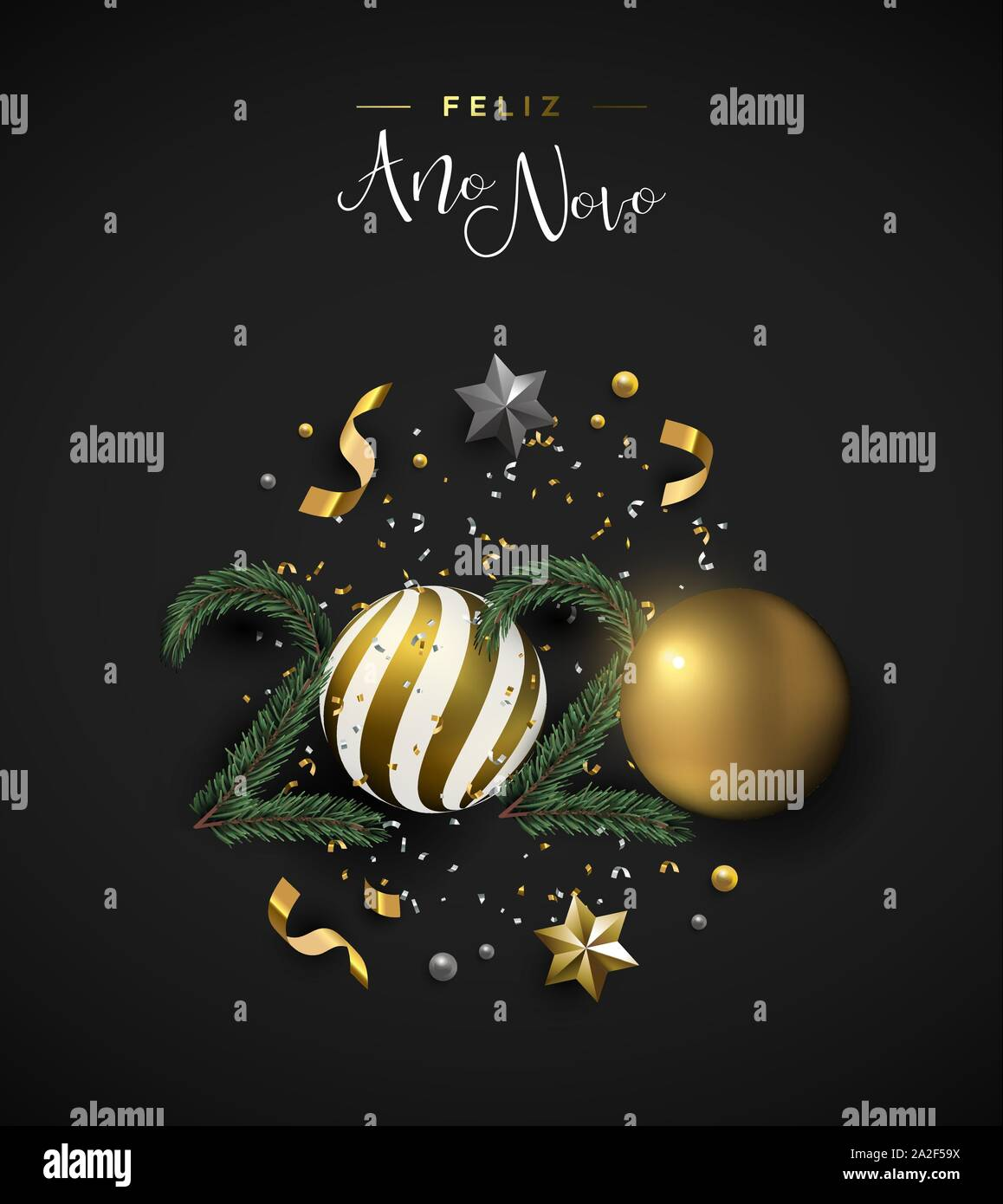 Happy New Year 2020 portuguese language greeting card of 3d holiday decoration. Realistic luxury xmas ornament layout includes gold bauble, stars and Stock Vector