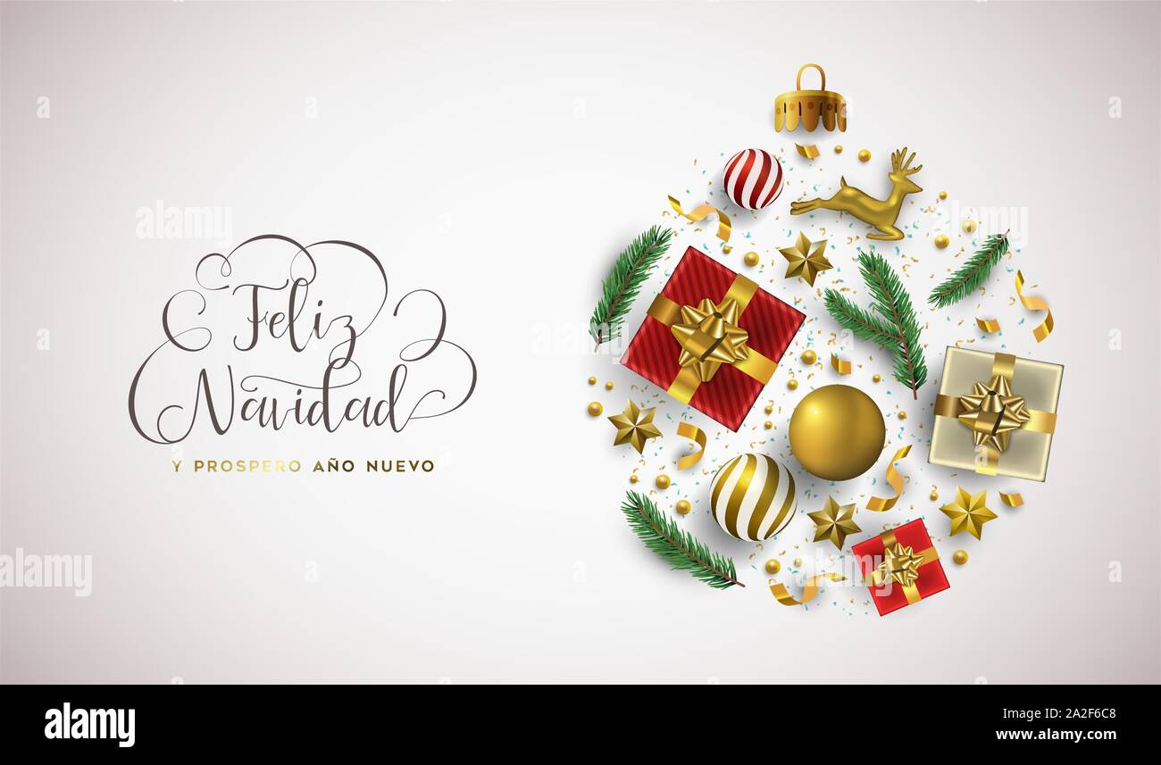 Christmas Spanish.Merry Christmas Happy New Year Spanish Language Greeting
