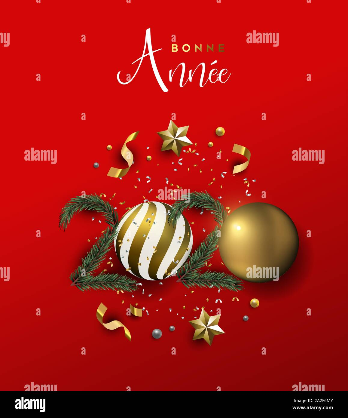 Happy New Year french language greeting card of gold 3d holiday