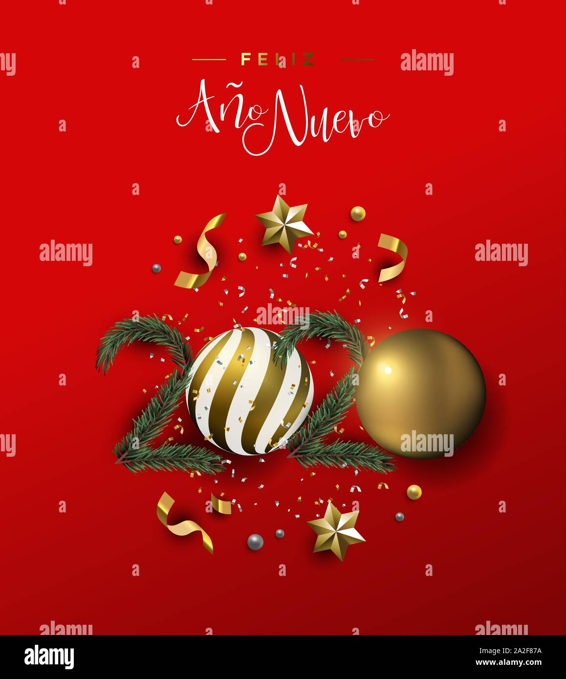 Merry Christmas 2020 3d Ornament Happy New Year spanish language greeting card of gold 3d holiday