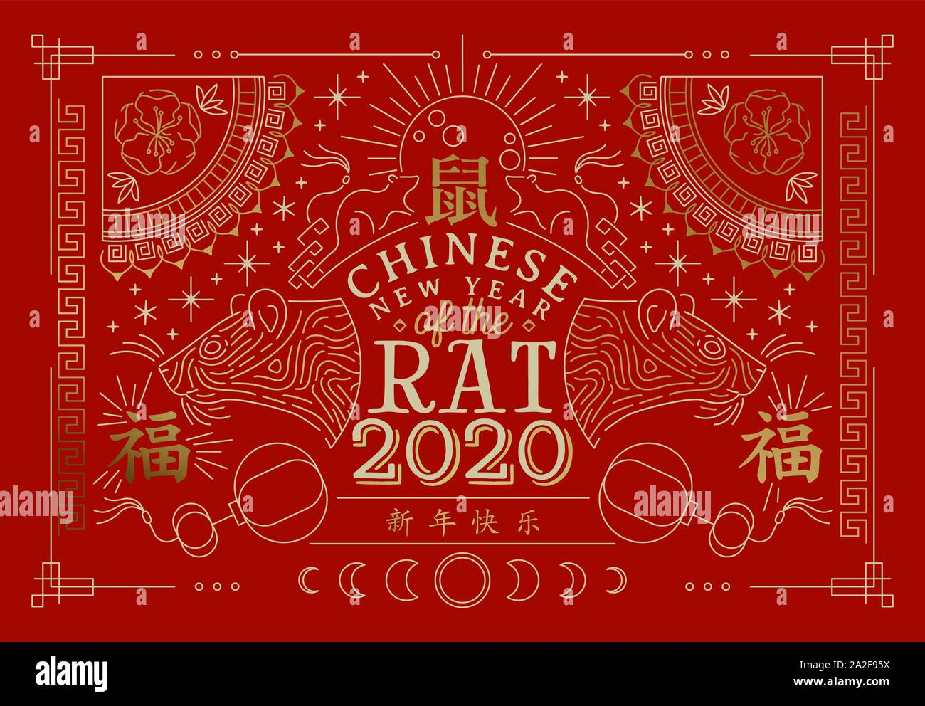 Chinese New Year 2020 greeting card of gold mouse ...