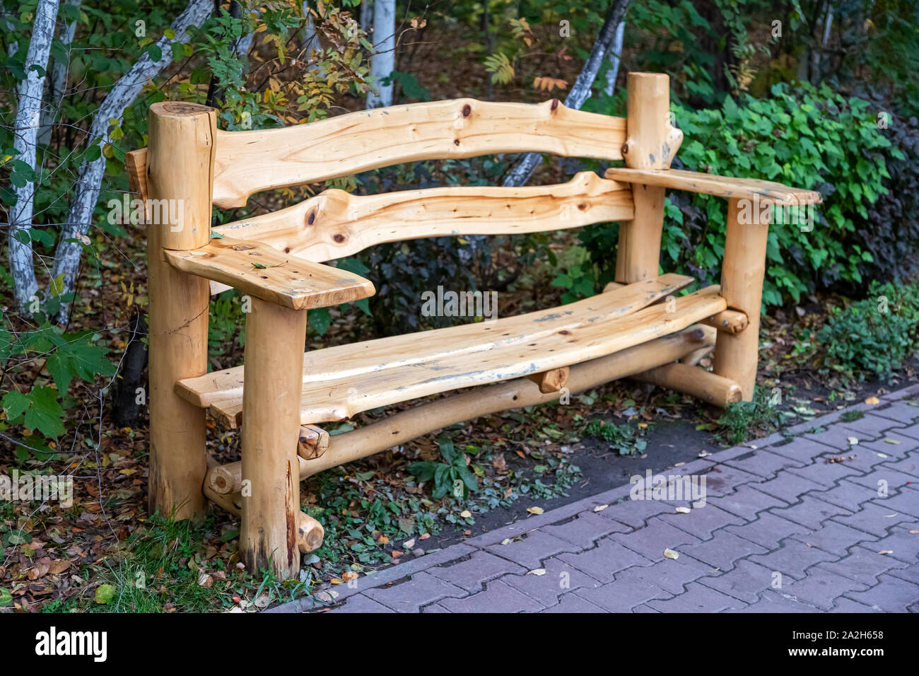 Superb Beautiful New Wooden Bench Made Of Cedar Stands In The Park Gmtry Best Dining Table And Chair Ideas Images Gmtryco