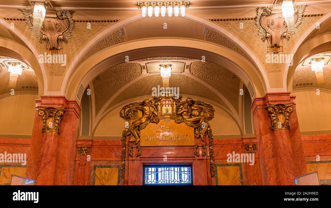 PRAGUE, CZECH REPUBLIC, SEPTEMBER 12 : Art deco interiors of the municipal house, Obecni Dum, september 12, 2019 in Prague, czech republic Stock Photo