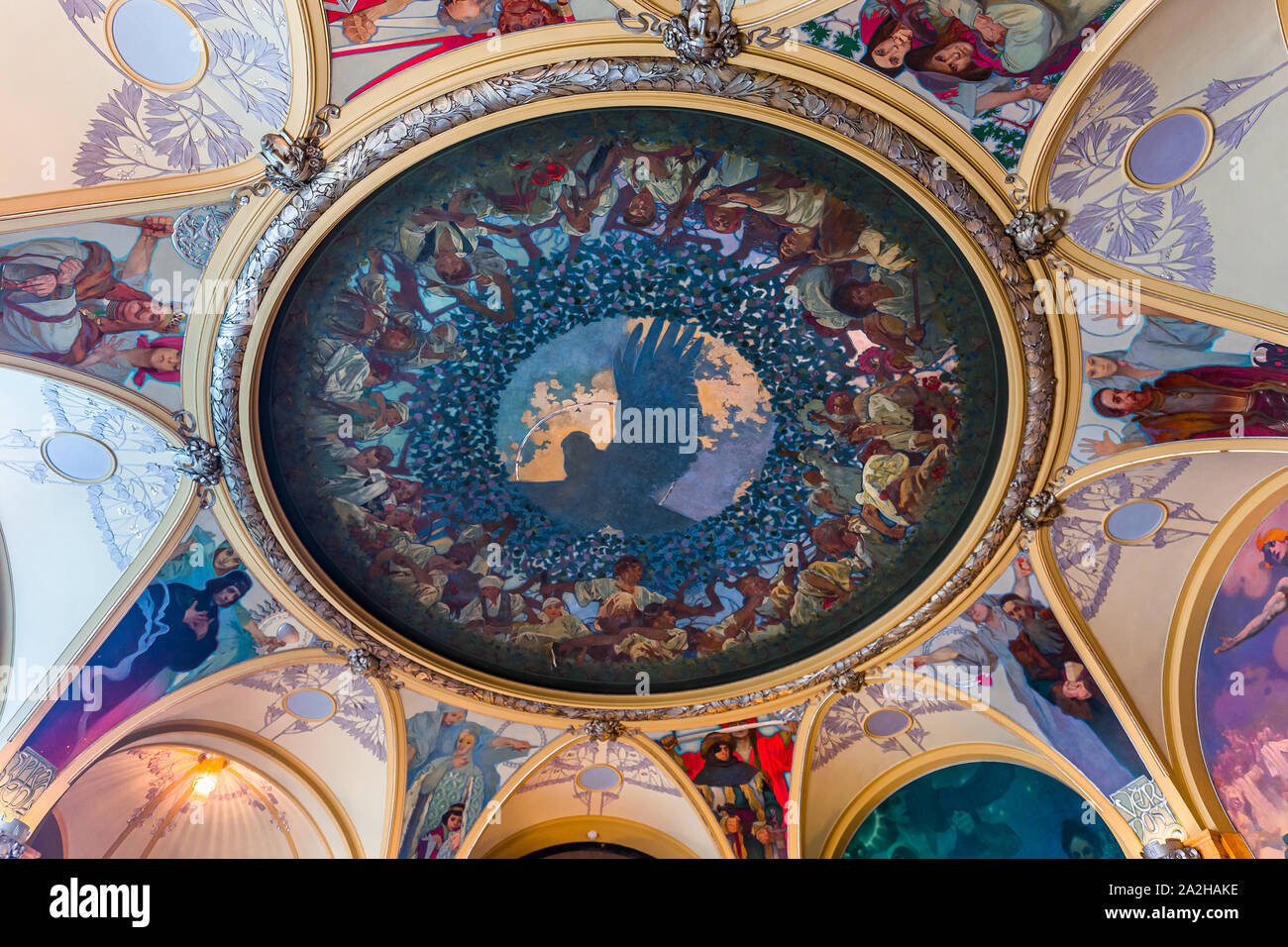 PRAGUE, CZECH REPUBLIC, SEPTEMBER 12 : Art deco interiors of the municipal house, Obecni Dum, september 12, 2019 in Prague, czech republic Stock Photo