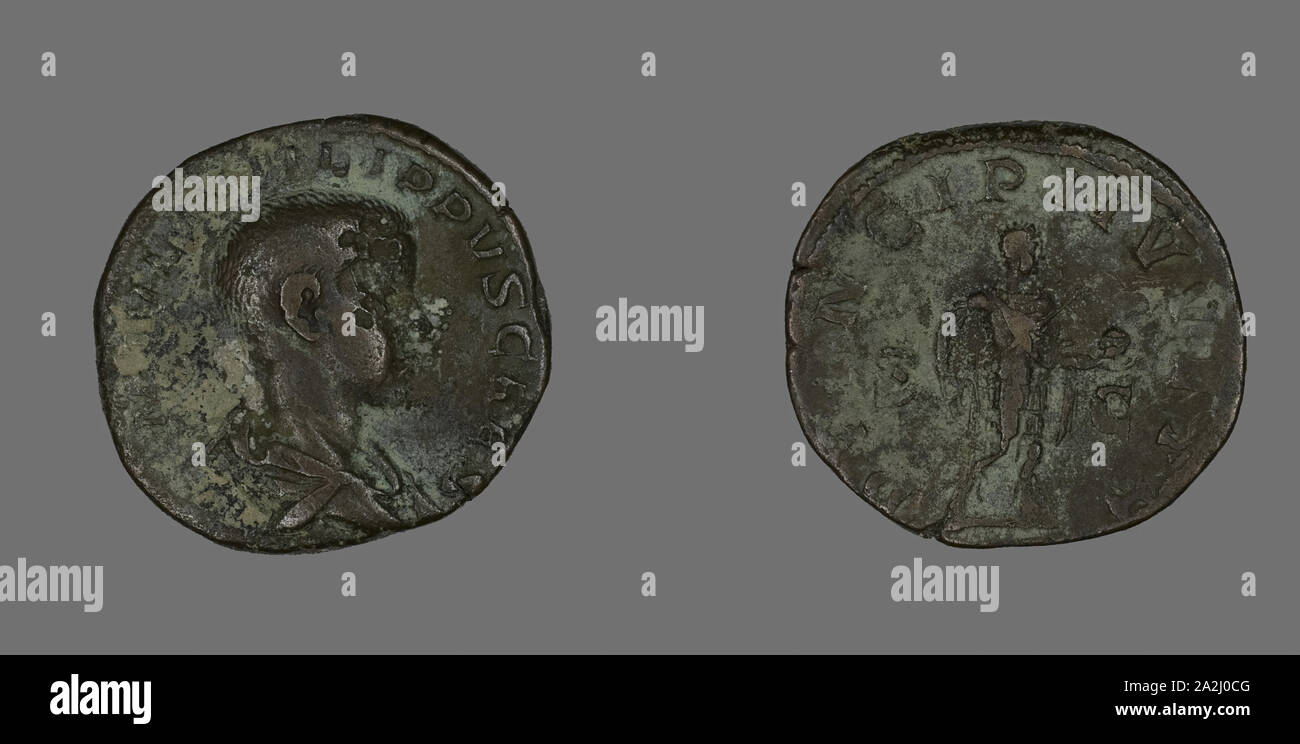 Sestertius (Coin) Portraying King Philip II, AD 244/246, Roman, minted in Rome, Roman Empire, Bronze, Diam. 2.9 cm, 18.03 g Stock Photo