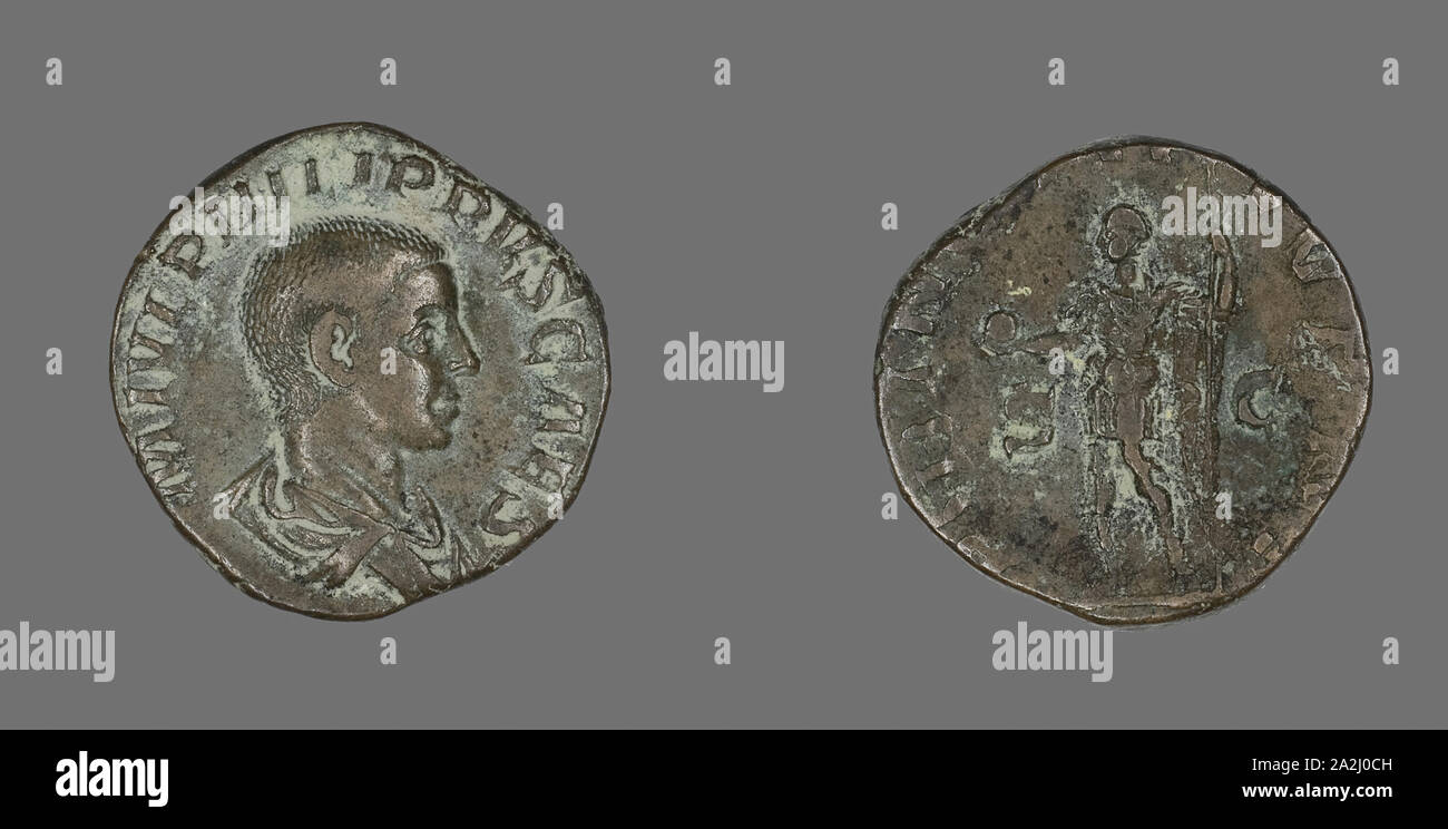 Sestertius (Coin) Portraying King Philip II, AD 244/246, Roman, minted in Rome, Roman Empire, Bronze, Diam. 2.8 cm, 15.13 g Stock Photo