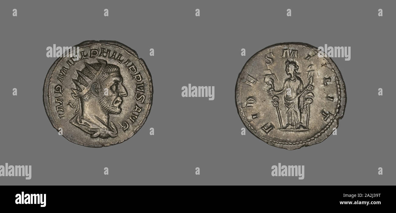 Denarius (Coin) Portraying King Philip II, AD 244/247, Roman, Rome, Silver, Diam. 2.2 cm, 3.77 g Stock Photo
