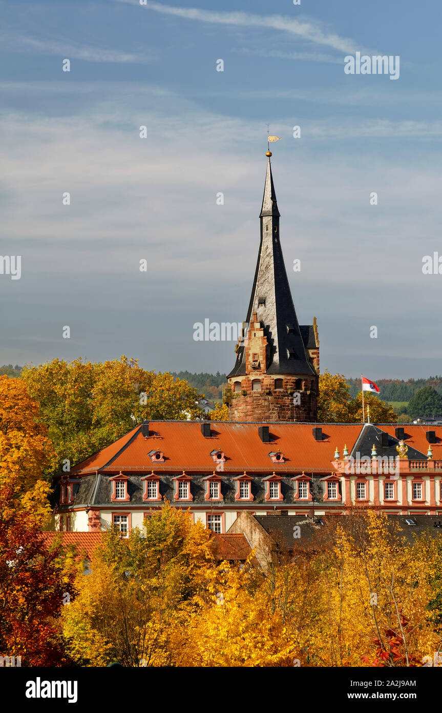 Erbach in the Odenwald region: Erbach Castle with castle keep, Odenwald District, Hesse, Germany Stock Photo