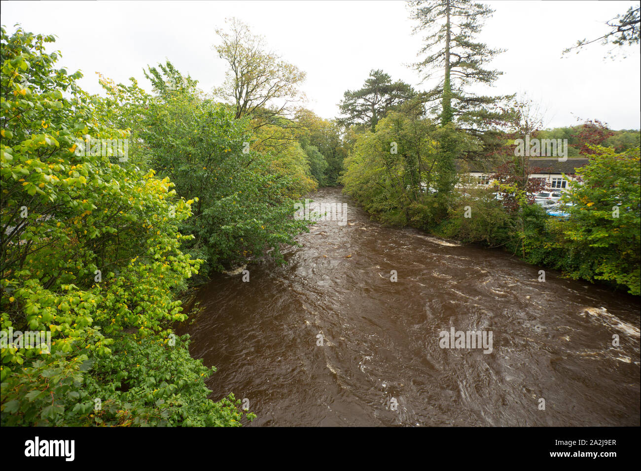 The River Wenning after heavy rain in September at Low Bentham. North Yorkshire England UK GB. Stock Photo