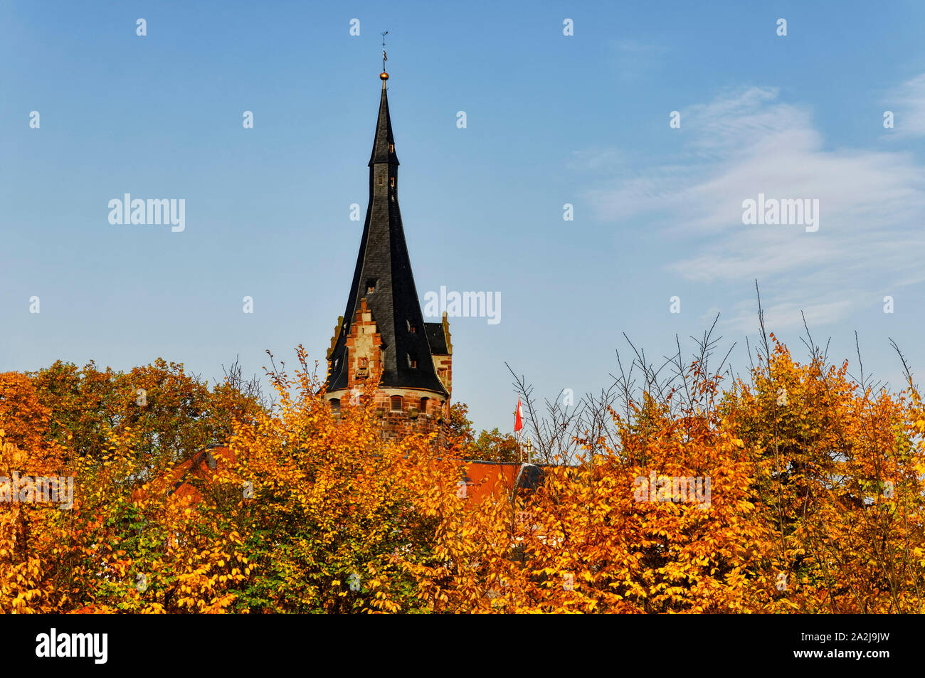 Erbach in the Odenwald region: keep of Erbach Castle, Odenwald District, Hesse, Germany Stock Photo