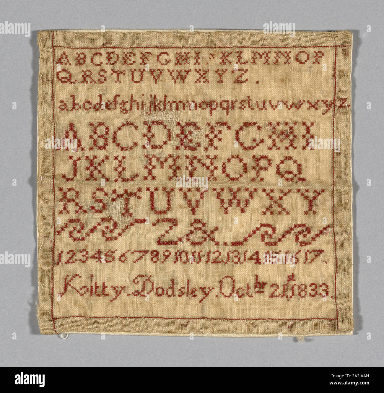 Sampler, 1833, Kitty (née Dodsley) Marriott Moffatt (English, 1825-1902), England, United States, Tiffany cloth embroidered with red silk, 15 x 16 cm (6 x 6 1/4 in Stock Photo
