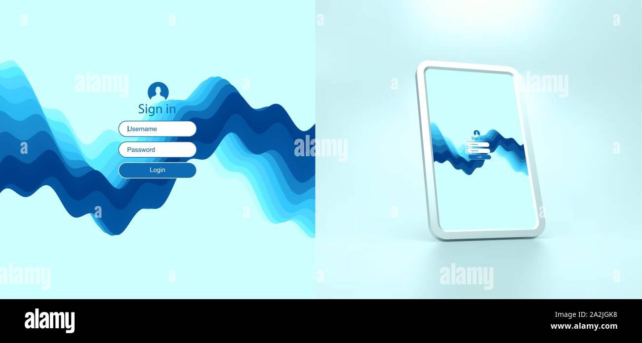 Login user interface. Modern screen design for mobile app and web design. Gradient background. Website element. Vector illustration. Stock Vector