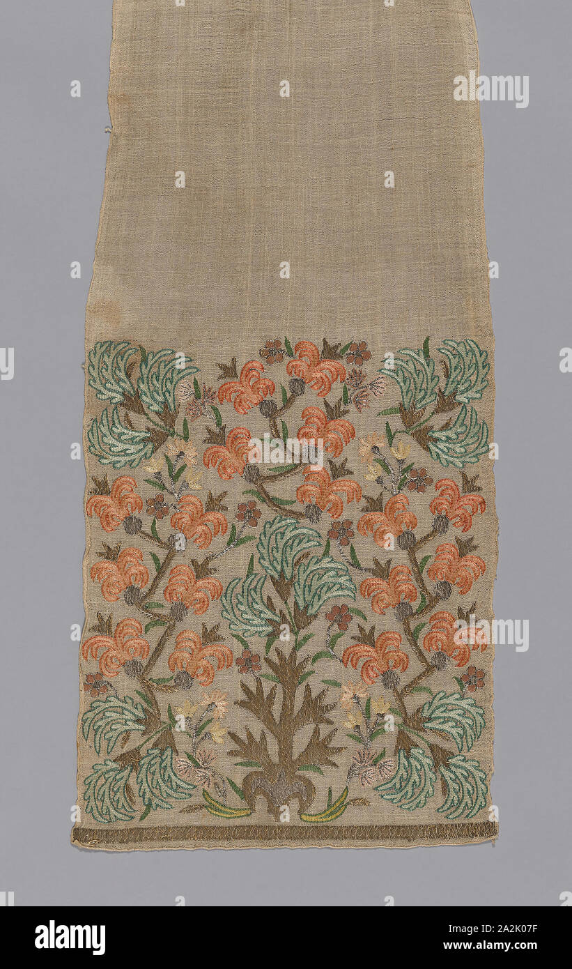 Sash, 19th century, Turkey, Turkey, Linen, plain weave, embroidered with gilt-metal-strip-wrapped silk in double running, fishbone, and overcast stitches, 188.6 x 33.3 cm (74 1/4 x 13 1/8 in Stock Photo