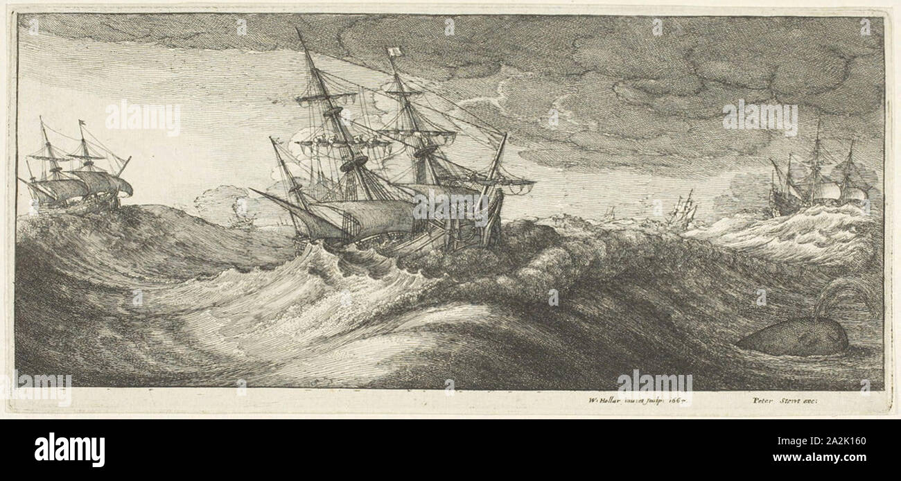 Warships and a Spouting Whale, 1665, Wenceslaus Hollar, Czech, 1607-1677, Bohemia, Etching on ivory laid paper, 124 × 272 mm (plate), 127 × 273 mm (sheet Stock Photo