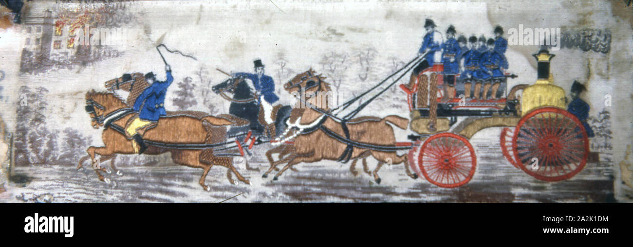 Heroism on Land (Fire Engine), 1875/1900, Woven by Thomas Stevens (English, 1828–1888), England, Coventry, Coventry Stock Photo